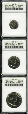 """A set of 1964 International Nickel Company Private Patterns MS60 to MS63 ANACS. The set includes: """"Dime"""" MS63..."""