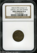 Errors: , 1858 1C Small Letters Cent--Struck 10% Off Center--VG8 NGC. Low Leaves, Open E. Off center toward 1 o'clock, much of STATES...