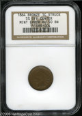 1864 1C Bronze No L Indian Cent--Struck 5% Off Center--AU50 NGC. Slightly off center toward 6 o'clock, the date and shie...