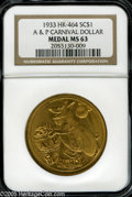 """So-Called Dollars: , 1933 A & P Carnival Dollar MS63 NGC. HK-464, """"Very scarce."""" Gilt, size 22. A Century of Progress souvenir medal. The obverse..."""