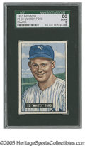 Baseball Cards:Singles (1950-1959), 1951 Bowman Whitey Ford #1 SGC EX/NM 80. A high-grade rookie fromthis Yankees Hall of Famer....