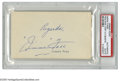 """Autographs:Index Cards, Jimmie Foxx Signed Index Card. A perfect blue ink inscription reads""""Regards, 'Jimmie' Foxx"""" from the second man to 500 hom..."""
