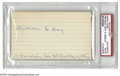 """Autographs:Index Cards, William """"Dummy"""" Hoy Signed Index Card. This late 19th century star's deafness gave birth to the use of hand signals by umpi..."""