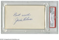 "Autographs:Index Cards, Jackie Robinson Signed Index Card. A perfect blue ink inscription reads ""Best wishes, Jackie Robinson"" from the first man t..."