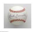 Autographs:Baseballs, Rick Ferrell Single Signed Baseball. A flawless blue ink sweet spotsignature on an OAL (Brown) ball from this popular Hall...