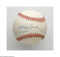 Autographs:Baseballs, Whitey Ford Single Signed Baseball. A flawless blue ink sweet spotsignature on an OAL (Budig) ball from this popular Hall ...
