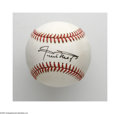 Autographs:Baseballs, Willie Mays Single Signed Baseball. A flawless black ink sweet spotsignature on an ONL (White) ball from this top tier Hal...