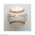 Autographs:Baseballs, James Stewart as Monty Stratton Signed Baseball. The legendaryactor remembers one of his most famous roles as he signs his...