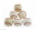 Autographs:Baseballs, Hall of Famers Single Signed Baseballs Lot of 6. Sweet spotsignatures are EX or better from such legends as Hubbell, Mays,...(6 )