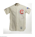 """Autographs:Jerseys, Ernie Banks Signed Jersey. Fine replica of this Cubs slugger's homeflannel is signed """"Ernie Banks, H.O.F. 1977"""" on the che..."""