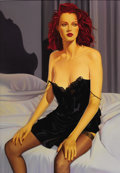Illustration:Pin-Up, ROBERT BLUE (American 20th Century) . Woman in Black Slip,original pin up illustration, 1993 . Oil on canvas . 60 x 42i...(Total: 1 Item)