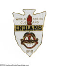 Baseball Collectibles:Others, 1948 Cleveland Indians World Series Press Pin. Great arrowheadshape on this highly collectible pin from the days of Satche...