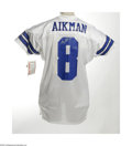 Football Collectibles:Others, Troy Aikman Signed Jersey. The hero of the Lone Star State applies his perfect silver sharpie signature to the verso of a w...