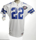 Football Collectibles:Others, Emmitt Smith Signed Jersey. The most prolific running back in the game's history applies his perfect silver sharpie signatu...