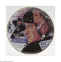 Hockey Collectibles:Others, Gretzky & Howe Signed Gartlan Plate. Rare collector's plate offers perfect gold sharpie signature from both hockey legends....