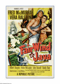 """Movie Posters:Adventure, Fair Wind to Java (Republic, 1953). One Sheet (27"""" X 41""""). FredMacMurray and Vera Ralston star in this tale of an American ..."""