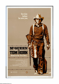 "Tom Horn (Warner Brothers, 1980). One Sheet (27"" X 41""). Steve McQueen's next to last film tells the story of..."