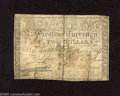 Colonial Notes:North Carolina, North Carolina April 2, 1776 $2 Very Good. This scarce note withthe running fox vignette has a split along its center fold....