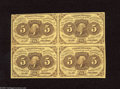 Fractional Currency:First Issue, Fr. 1230 Block of Four 5c First Issue Choice About Uncirculated. Abeautiful block of four that is much better margined than... (4notes)