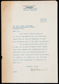 Autographs:Letters, 1927 Ernest Barnard Historically Significant Signed Letter to JoeCarr from the Joe Carr Find, PSA/DNA LOA.. ...