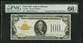 Small Size:Gold Certificates, Fr. 2405 $100 1928 Gold Certificate. PMG Gem Uncirculated 66 EPQ.. ...