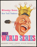 Baseball Collectibles:Publications, 1957 World Series Game 3 Program - Milwaukee Braves vs. New YorkYankees - and Braves World Series Pin. . ...