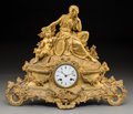Clocks & Mechanical:Clocks, An Alliez & Berguer Louis XVI-Style Gilt Bronze Classical Mantle Clock, late 19th century. 14-1/4 h x 18 w x 7-1/4 d inches ... (Total: 2 Items)