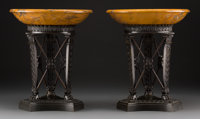 A Pair of Empire-Style Patinated Bronze and Burnt Orange Marble Tazze, 20th century 12-1/8 inches high x 10-1/4 in