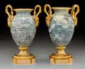 Decorative Arts, French:Other , A Pair of Louis XVI-Style Marble and Gilt Bronze Cassolette Urns,late 19th century. 12-1/2 inches high (31.8 cm). PROPERT... (Total:2 Items)