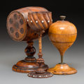 Decorative Arts, British:Other , Three Carved Wood Treen Items: Barrel Bank, Chalice, Toupie Box,probably English, 19th century. 8-1/2 inches high ...