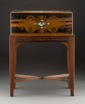 Furniture , An English Mahogany and Mother-of-Pearl Inlaid Lap Desk on Stand, late 19th century. 21-1/2 h x 16-1/2 w x 10-1/4 d inches (...