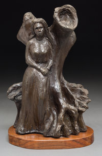 George Rodrigue (American, 1944-2013) Evangeline Standing Bronze with brown patina 12 inches (30