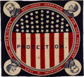 "Political:Textile Display (pre-1896), Harrison & Morton: ""Four Corners"" Jugate Bandana...."