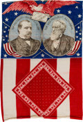 """Political:Textile Display (pre-1896), Cleveland & Thurman: """"Let the Eagle Scream"""" Jugate Bunting inVertical Flag Format...."""