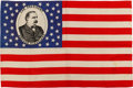 Political:Textile Display (pre-1896), Grover Cleveland: Rare and Spectacular Silk Portrait Flag in Beautiful Condition....