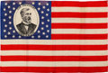 Political:Textile Display (pre-1896), James G. Blaine: Seldom-Offered Silk Portrait Flag in Very FineCondition....