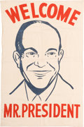 "Political:Textile Display (1896-present), Dwight D. Eisenhower: Large Canvas ""Welcome"" Portrait Banner...."