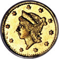 California Fractional Gold, 1856 25C Liberty Round 25 Cents, BG-228, R.7, MS62 PCGS....