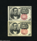Fractional Currency:Fifth Issue, Fr. 1265 and Fr. 1266 10c Fifth Issue Choice New. An attractive pair of very well margined Meredith notes with both the long... (2 notes)