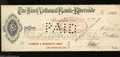 Miscellaneous:Other, Riverside, CA- First National Bank of Riverside $400 Paid CheckJune 18, 1902 A great signature of the bank's cashier adorn...