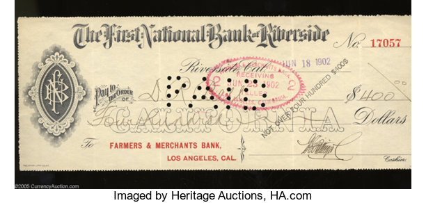 MiscellaneousOther Riverside CA First National Bank Of 400 Paid CheckJune