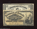 Canadian Currency: , DC-1c 25¢ 1870 Fine DC-15a 25¢ 1900 VG. Here are two notes from thefirst two issues of Canadian shinplasters. ... (2 notes)