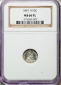 Proof Seated Half Dimes, 1847 H10C MS66 Prooflike NGC. V-4....