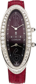 "Timepieces:Wristwatch, Corum Lady's Diamond, White Gold ""Millenium 2000"" Dual Time ZoneLeather Strap Wristwatch, circa 2006. Case: 54 x 24 mm, ... (Total:1 Item)"