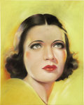 Illustration:Pin-Up, AMERICAN ILLUSTRATOR (American 20th Century) . Portrait of KayFrancis, original movie magazine illustration . Pastel on...