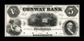 Obsoletes By State:Massachusetts, Conway, MA- Conway Bank $5 Sept. 12, 1854 UNL Proof. ...