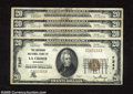 National Bank Notes:Wisconsin, La Crosse, WI - $20 1929 Ty. 1 Four Examples The Batavian NB Ch. # 7347 These four notes are numbered C000166A - C00016... (4 notes)