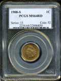 Indian Cents: , 1908-S 1C MS64 Red PCGS. ...
