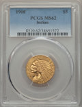 Indian Half Eagles, 1908 $5 MS62 PCGS. PCGS Population: (1945/2288). NGC Census: (2711/1901). CDN: $475 Whsle. Bid for problem-free NGC/PCGS MS...