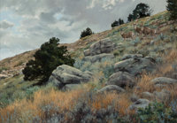 Lanford Monroe (American, 1950-2000) Mule Deer, 1986 Oil on panel 24 x 36 inches (61.0 x 91.4 cm)